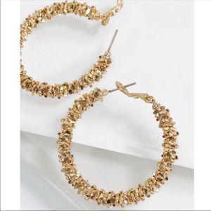 Jewelry - Gold Textured Metal Hoop Earrings
